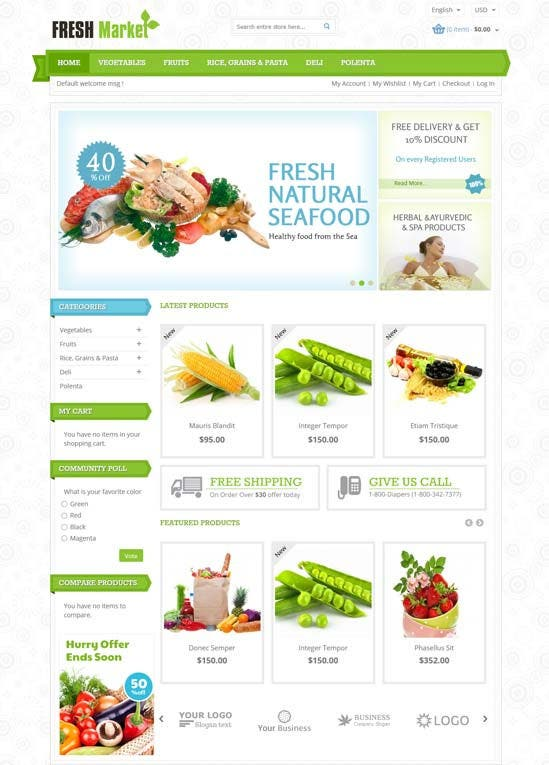 29 grocery store website themes templates free for Magento homepage template