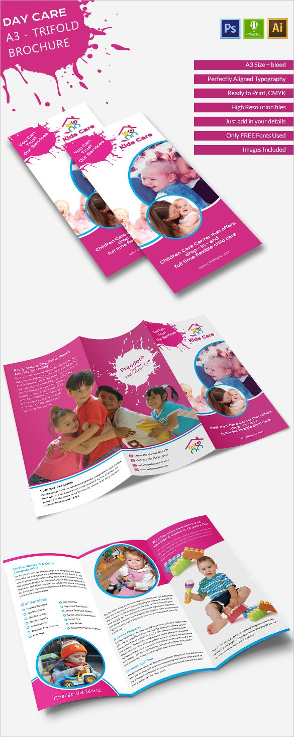 Elegant Day Care A Tri Fold Brochure Template Free Premium - Child care brochure templates free