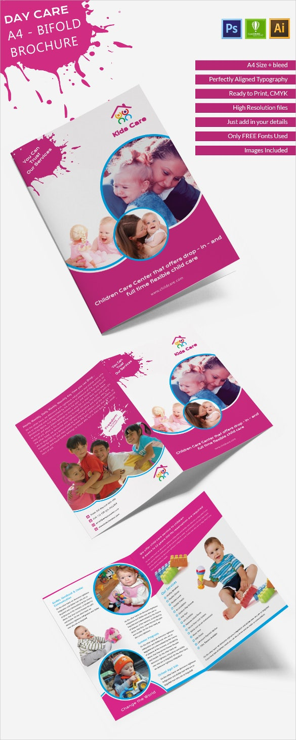 14 daycare brochure templates free psd eps for Bi fold brochure template illustrator