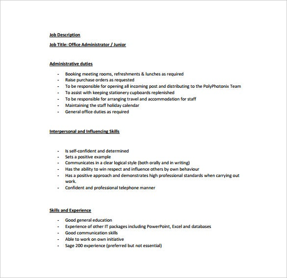 Office administrator job description templates 10 free - Executive office administrator job description ...