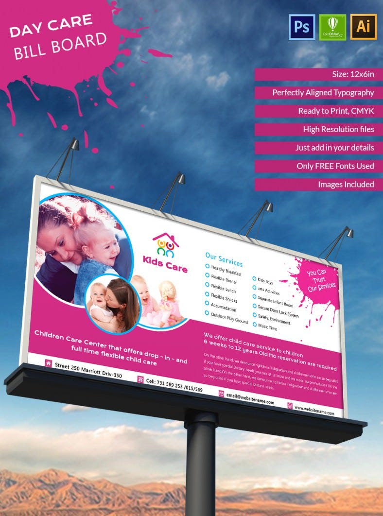 stunning day care bill board mockup