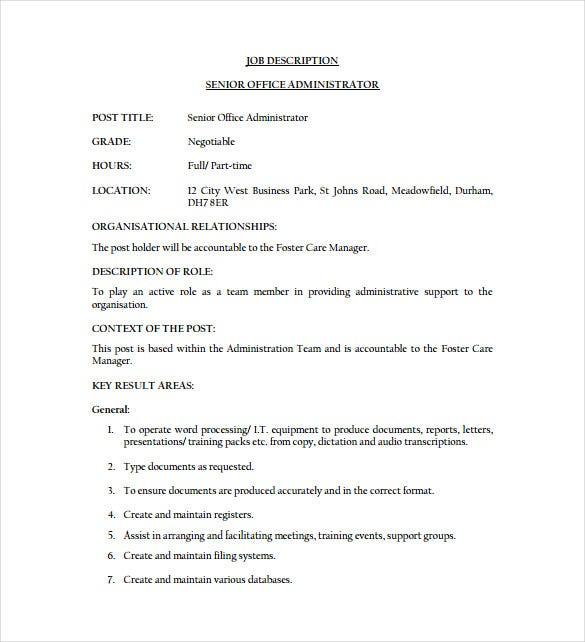 Office Administrator Job Description Templates   Free Sample