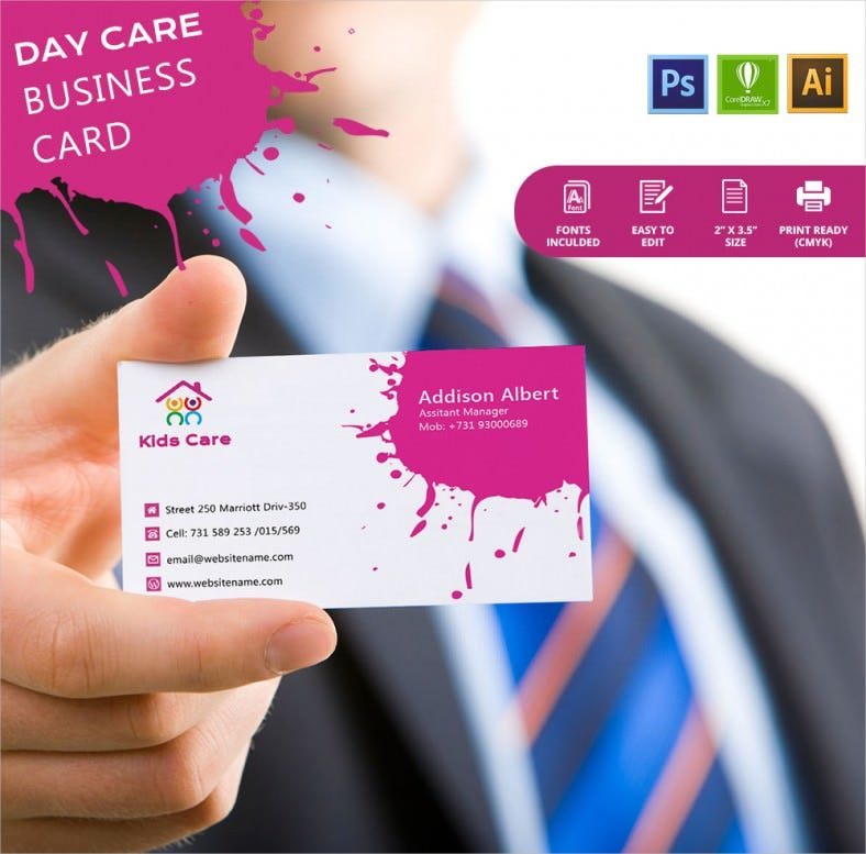 Simple day care business card template free premium templates simple day care business card template daycarebusiness car wajeb Gallery