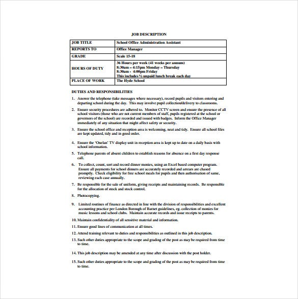 Office Administrator Job Description Templates - 10+ Free Sample ...