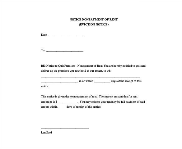 eviction notice nonpayment of rent - Free Eviction Notice Template