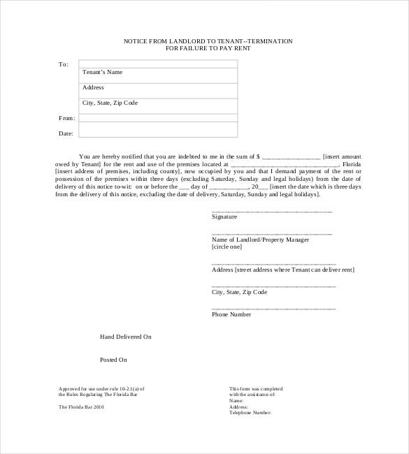 Eviction Notice To Tenance  Free Printable Eviction Notice Template