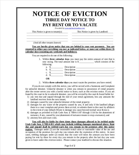 Eviction Notice To Vacate Sample