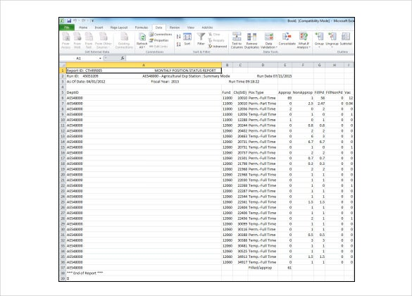 Monthly Report Management Templates Word Excel Format – Monthly Report Template