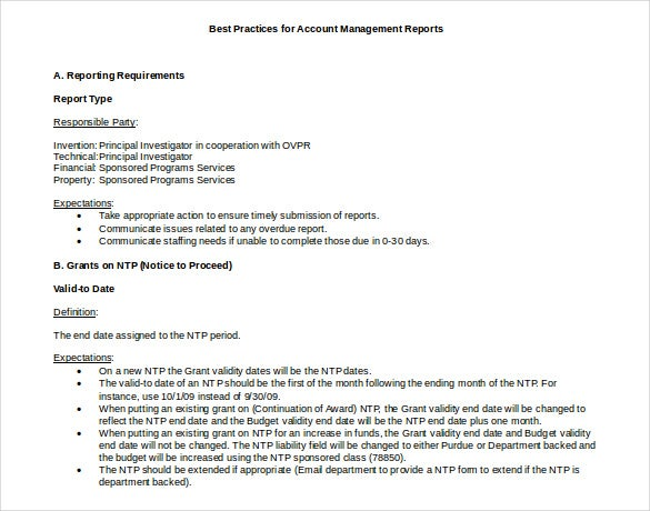 Doc Format Account Management Report Template  Format For Report