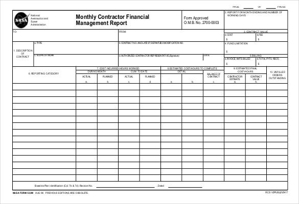 Monthly Contractor Financial Management Report PDF Format Template  Monthly Summary Report Template