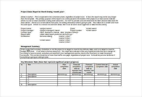 Project Status Report For Month Ending Free Doc Format To Monthly Summary Report Template