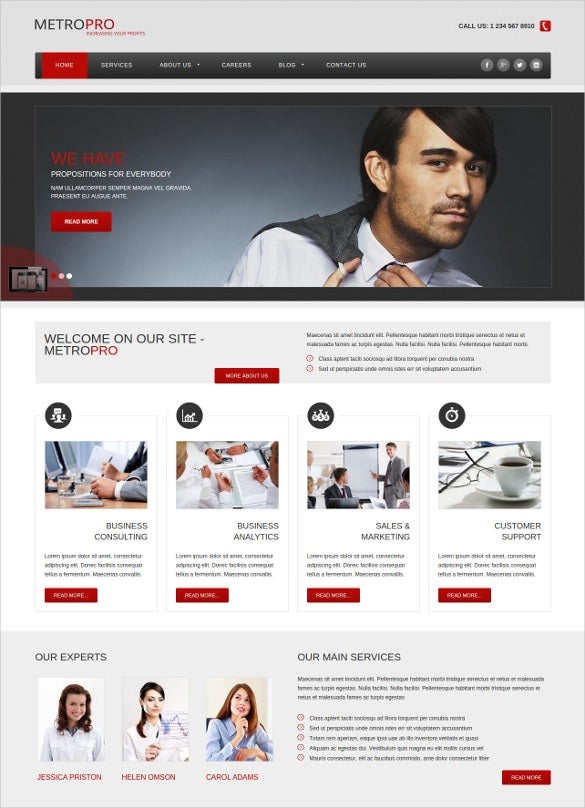 metro business joomla html5 theme