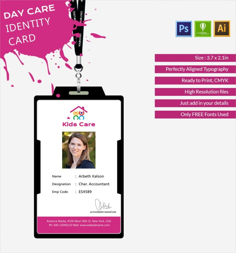 Fabulous Day Care Identity Card Template  Free  Premium Templates