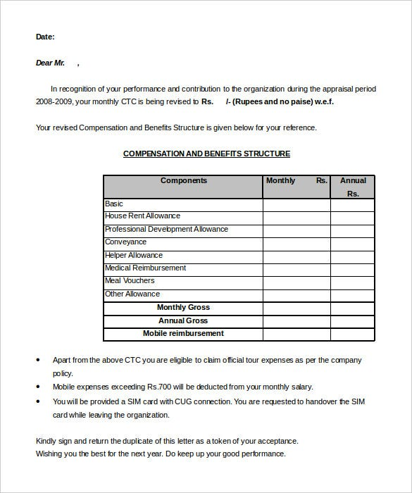 Sample Executive Director HR Appraisal Letter Template Editable