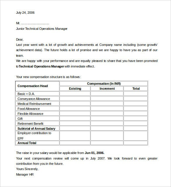 Technical Operations Manager HR Appraisal Letter Template