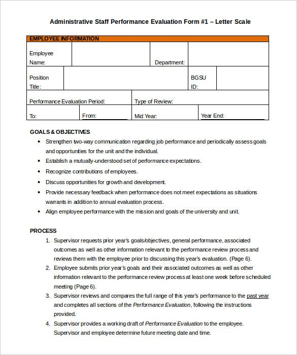 Administrative Staff Performance Appraisal Template Sample Printable  Employee Appraisal Form Sample