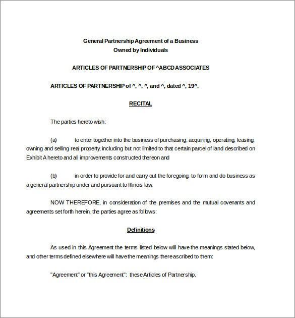 Business General Partnership Agreement Word Document Download