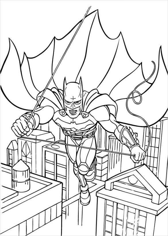 flying batman coloring page