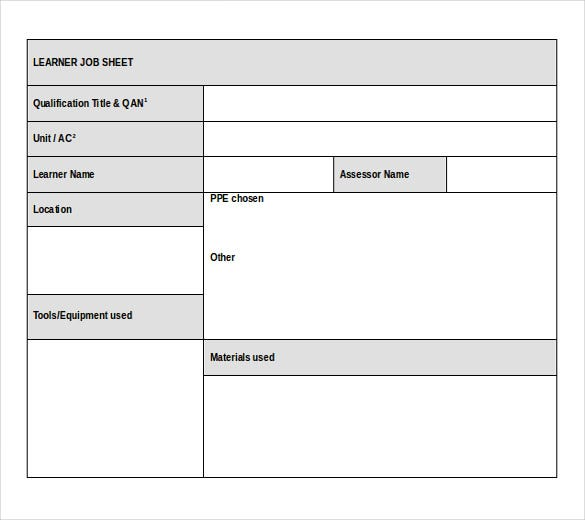 Job Sheet Template - 13+ Free Word, Excel, PDF Documents Download ...
