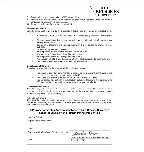 education partnership agreement template free download