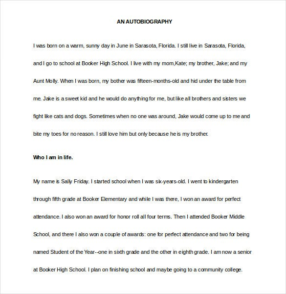 Autobiography Template Word Format  Microsoft Word Biography Template