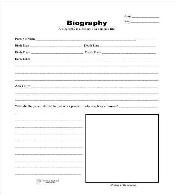 Biography Template   Free Word  Documents Download  Free