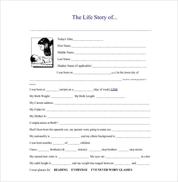 life story biography sample template