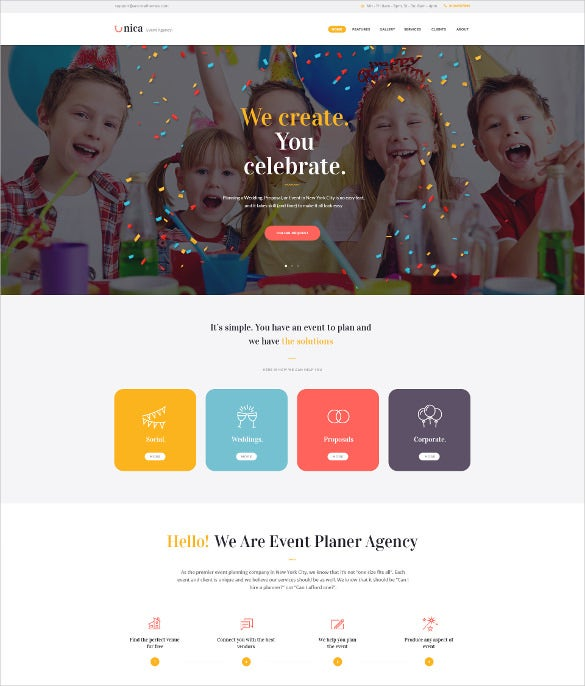 event planning agency website theme