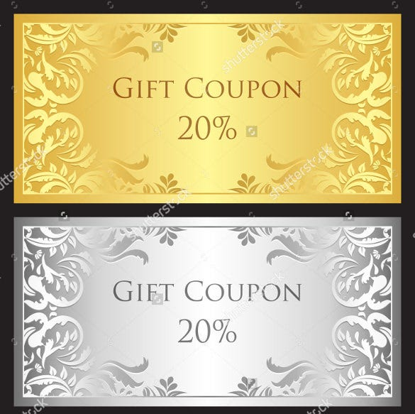 luxury birthday coupon with gold and silver victorian ornament