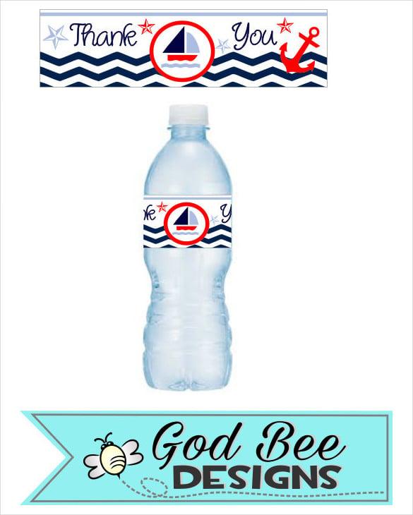 modern nautical water bottle template