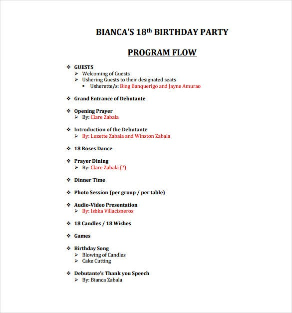 Birthday Program Template 11 Free Word Pdf Psd Eps Ai