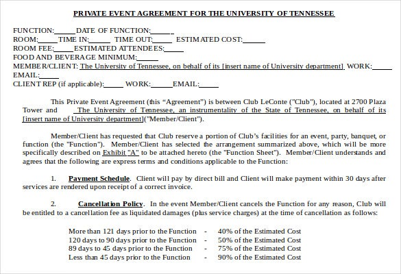 private event agreement template
