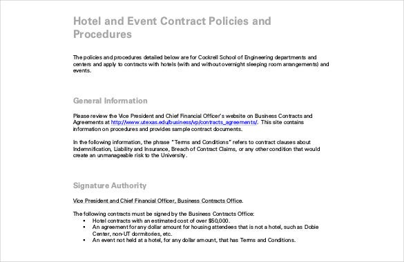 Hotel Event Contract PDF Format Free Template