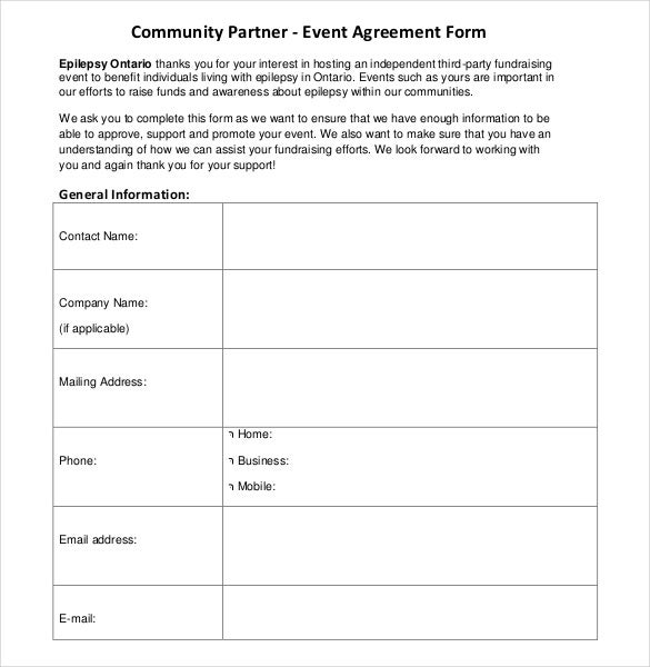 community partner event contract template