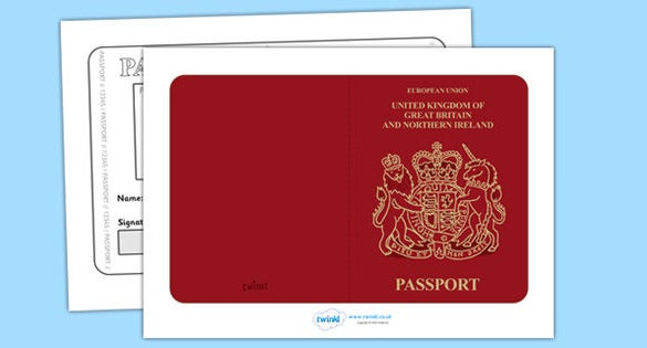 British Passport Template Free Printable Download  Free Passport Template For Kids