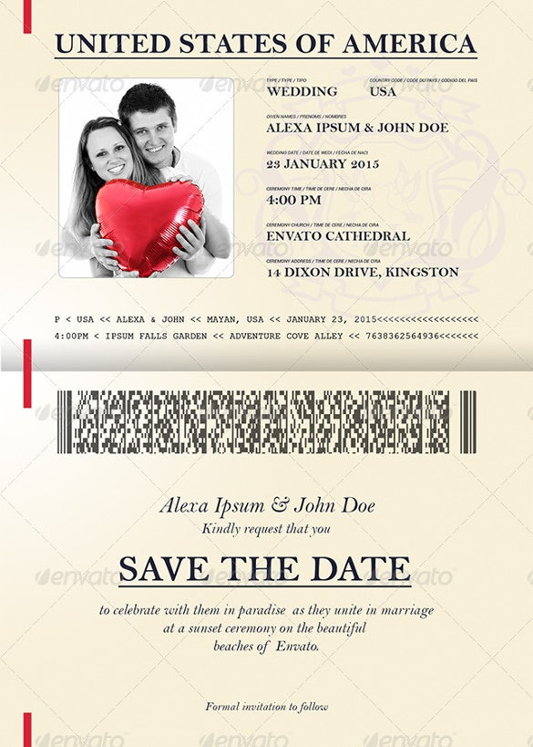 Passport Template 19 Free Word PDF PSD Illustrator Format – Wedding Invitation Sample Format