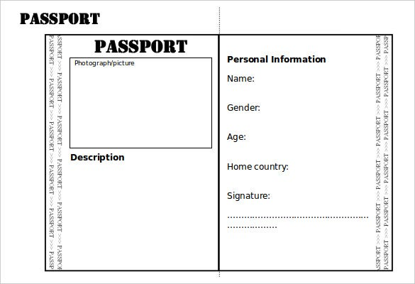 High Quality Editable Double Sided Passport Writing Frame Template Word Doc Is An Easy  To Use Passport Template With Professional Outlook And Has Editable And  Print ... On Free Passport Template For Kids