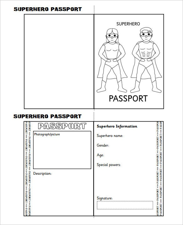 Passport template 19 free word pdf psd illustrator format superhero passport writing frame printable template download pronofoot35fo Image collections