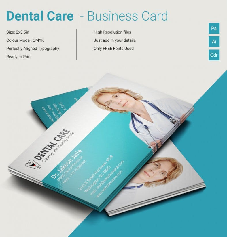 Dentist  Dental Clinic Business Card Template   Free Psd