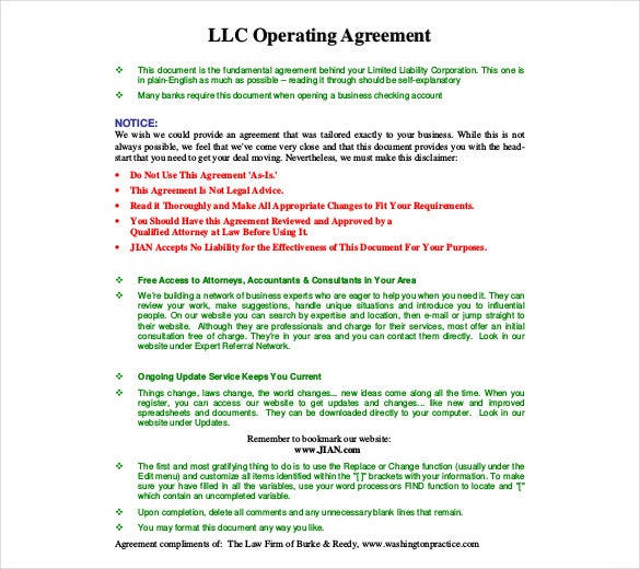 Operating Agreement Template Free Word PDF Document Download - Llp partnership agreement template