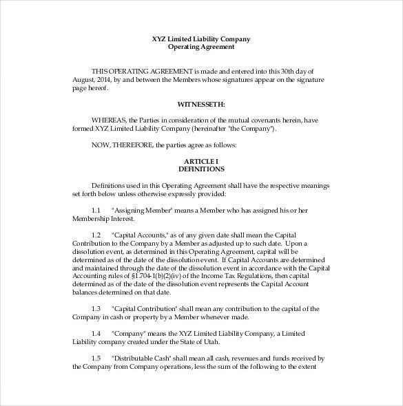 Operating Agreement Template  Free Word Pdf Document Download