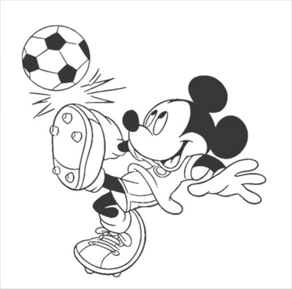 mickey mouse playing foot ball coloring page pdf free download - Free Download Coloring Pages
