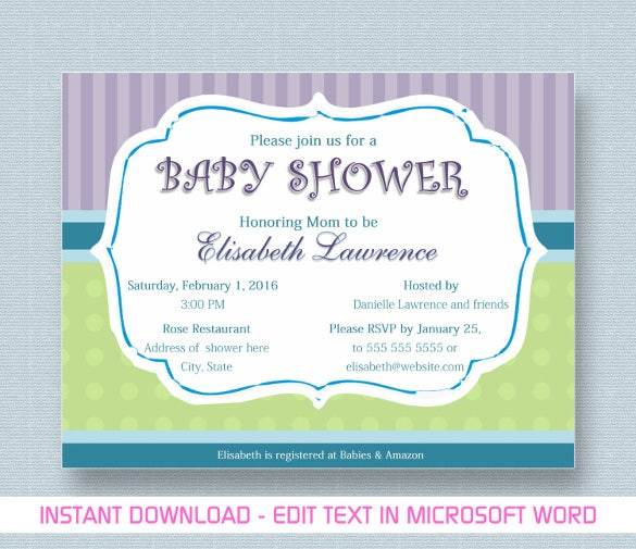 Printable Baby Shower Template In MS Word  Baby Shower Invitation Templates For Word