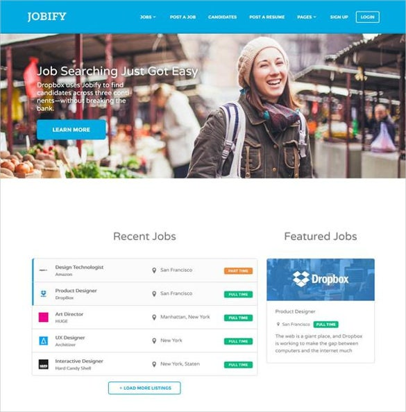 jobs template html free  19  Job Portal HTML5 Themes