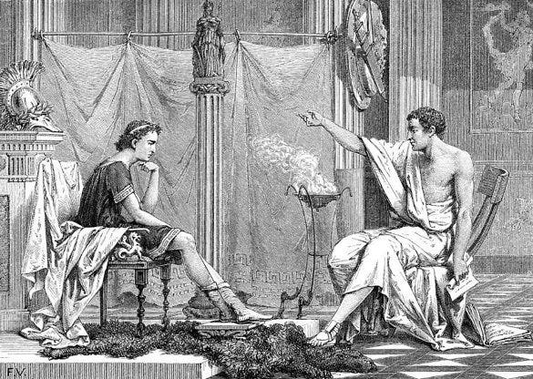 alexander of macedon and aristotle artwork