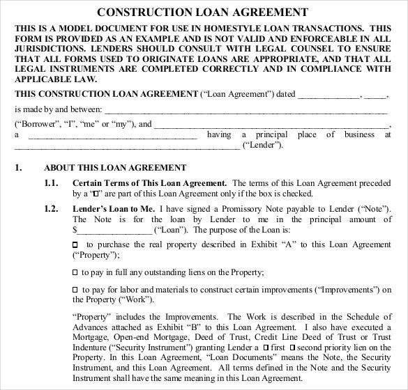 construction loan contract template free pdf - Sample Lending Contract
