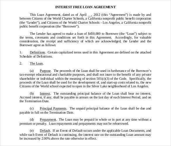 Captivating Free Download Interest Free Loan Contract PDF Template To Loan Agreement Document Free