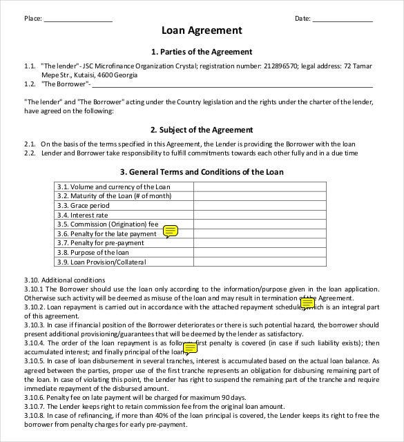 Loan Agreement PDF Format Free Template  Free Loan Document Template