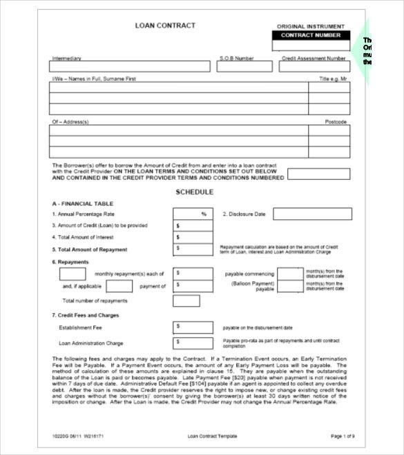 Loan Contract Template 26 Examples in Word PDF – Loan Template Agreement