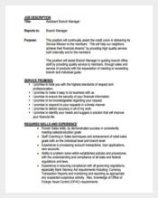 Example of Assistant Branch Manager Job Description Free